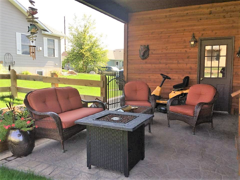 Patio with Gas Firepit, Private Home | Spearfish SD