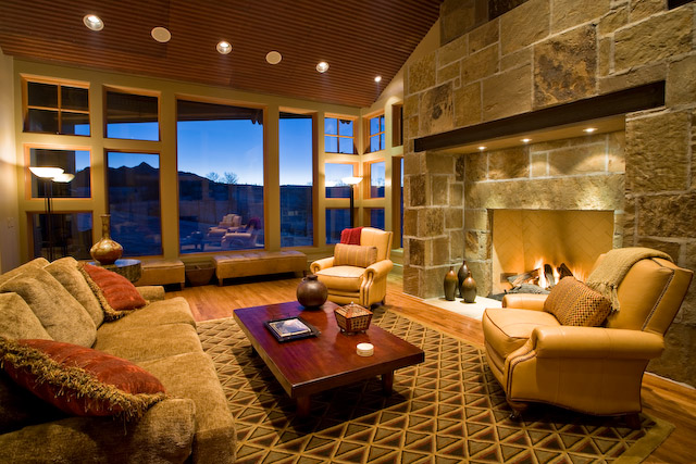 143 Adams Ranch - Spacious great room with massive gas fireplace - Unreal views