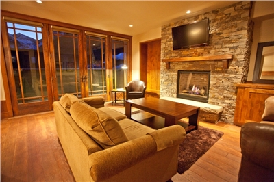 Living Area - Gas Fireplace - 37 Inch LCD TV - Deck - Oak Floors