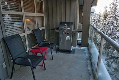 Private deck with gas BBQ: winter