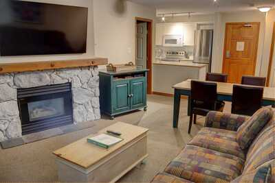 Seating area with gas fireplace and cable TV