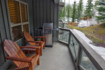 Private patio with gas BBQ
