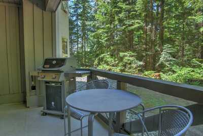 Private deck with patio set and BBQ