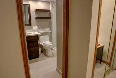 Master en-suite bathroom with new flooring