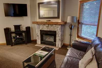 Living room - seating area with gas fireplace and TV