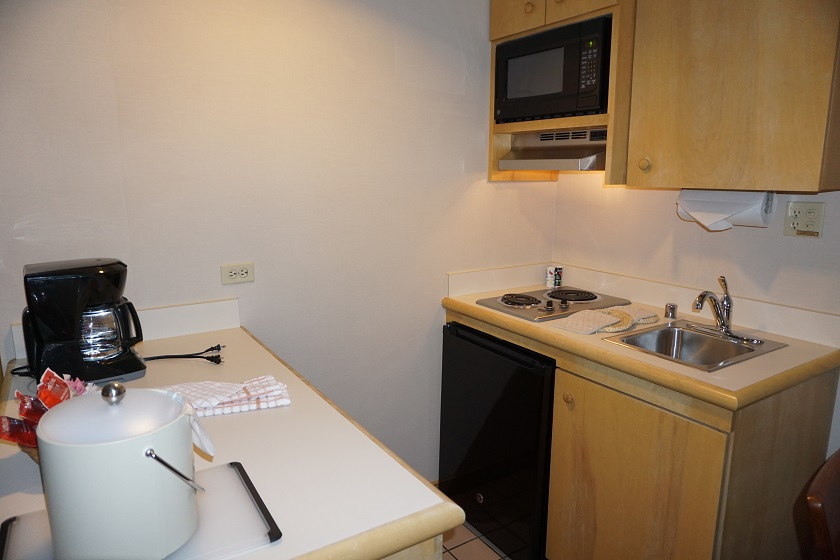 Kitchenette with Smaller Fridge, Microwave, Pots/Pans, & Coffee Maker