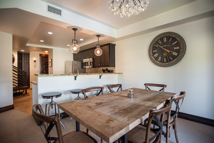 Dining Area, Kitchen, and Private Balcony (107)