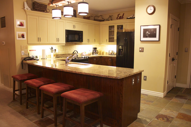Typical kitchen in a 2 bedroom Hearthstone Lodge