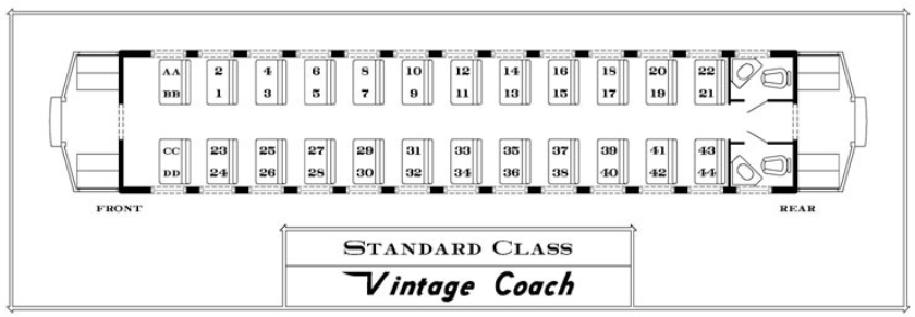 Seating Chart- Historic Narrated Coach
