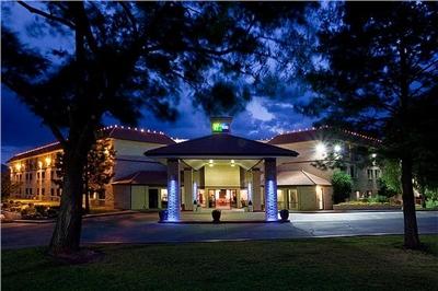Holiday Inn Express entrance at dusk