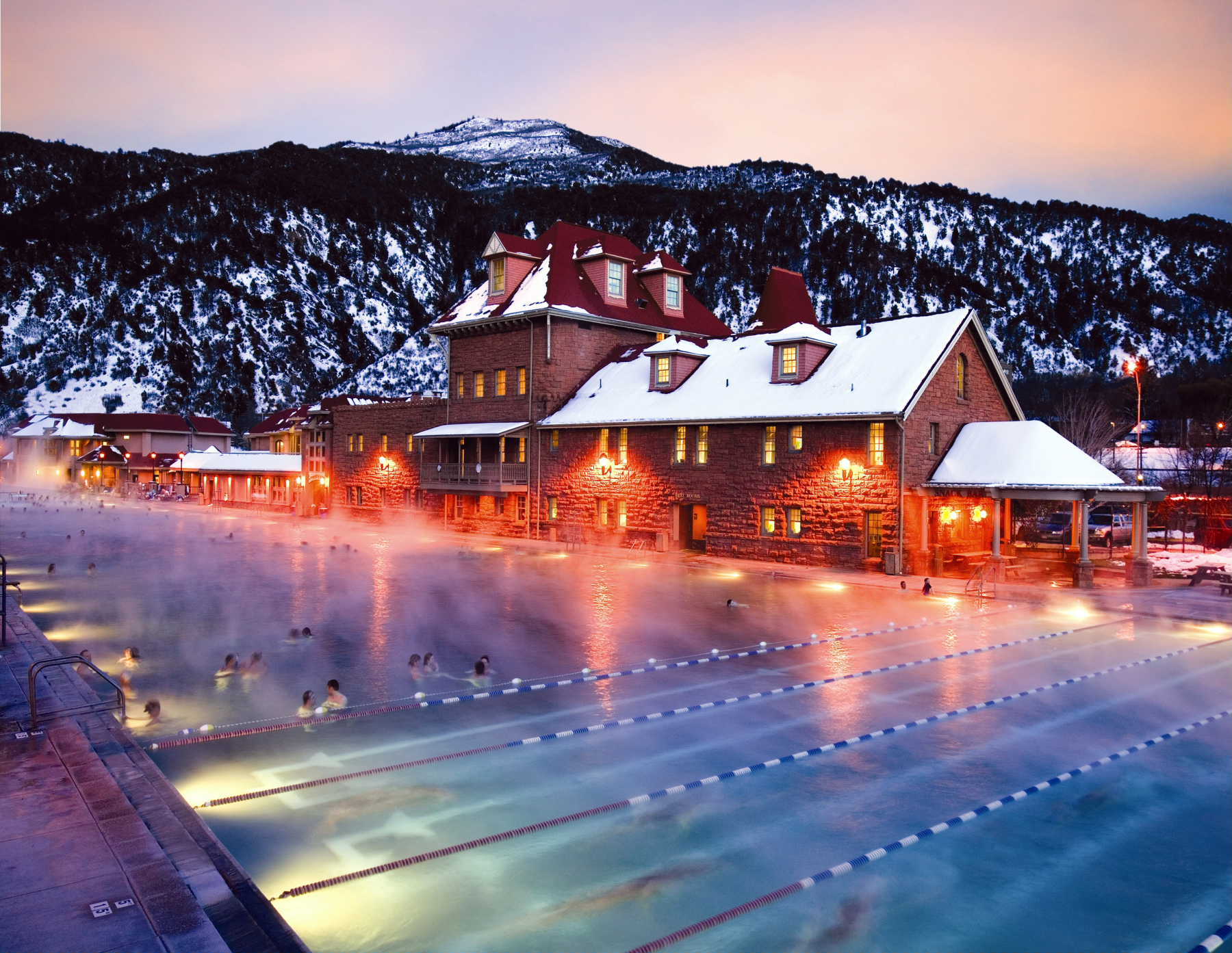 Soothing hot springs waters in winter