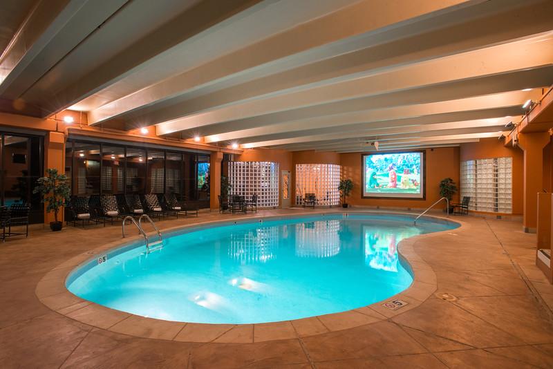 Indoor pool, sauna, fitness room