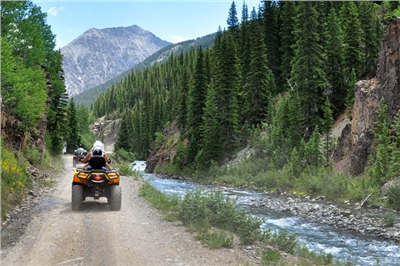 Touring along the high mountain rivers and creeks