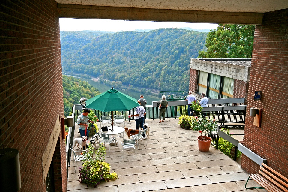 Patio at lodge overlooking gorge