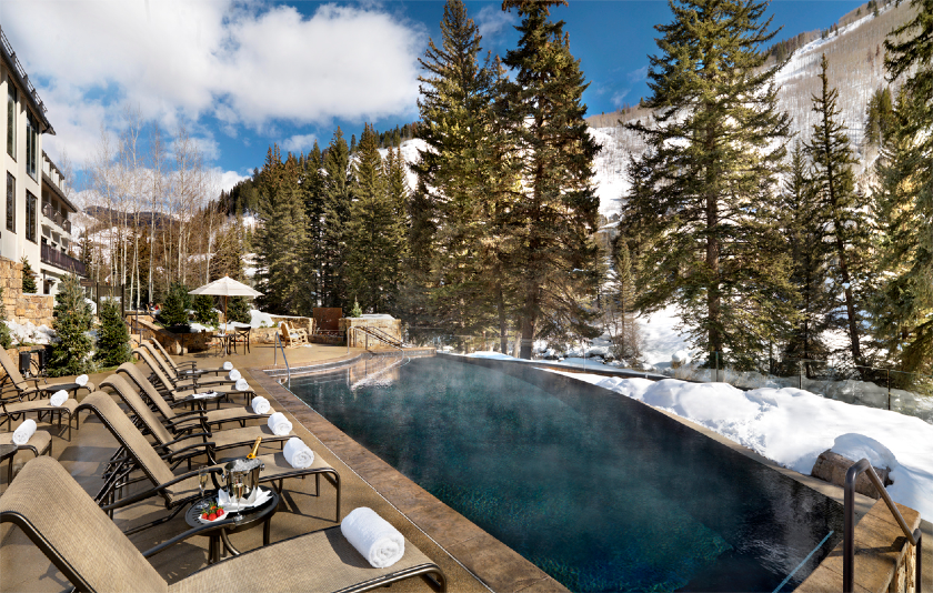 Heated infinity pool overlooking Gore Creek