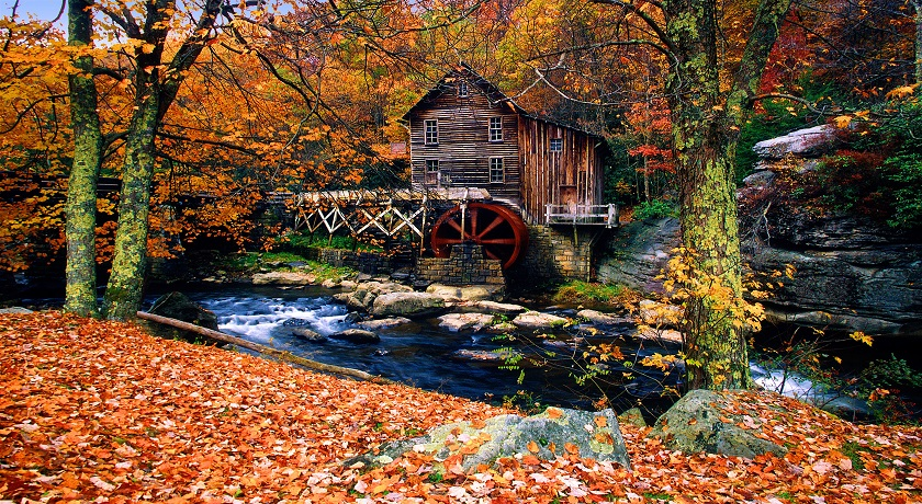 Glade Creek Grist Mill in the Fall