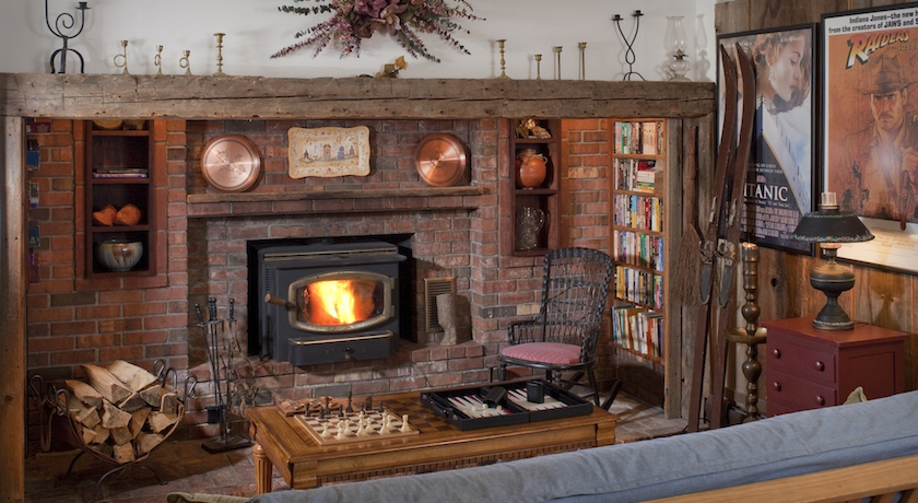 Library Fireplace at West Hill House B&B